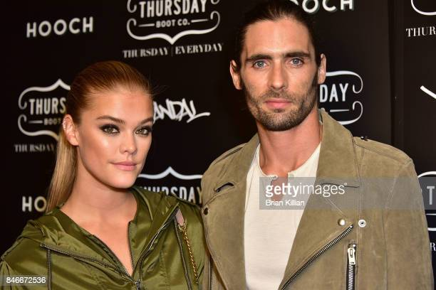 Model Nina Agdal and Tyson Ritter attend the Thursday Boot Company Presentation at Vandal on September 13 2017 in New York City