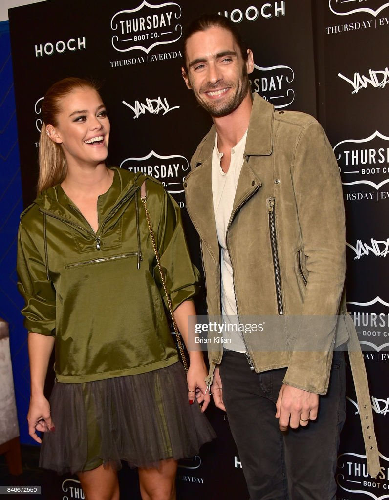 Model Nina Agdal and Tyson Ritter attend the Thursday Boot Company Presentation at Vandal on September 13, 2017 in New York City.
