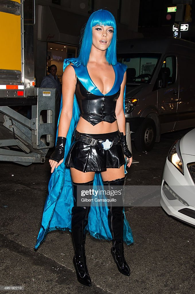 Model Nina Agdal arrives at Heidi Klum Halloween Party at LAVO on October 31, 2015 in New York City.