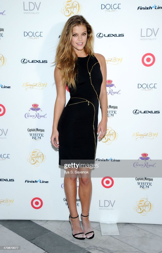 Model Nina Agdal arrives at SI Swimsuit South Beach Soiree at The Gale South Beach on February 20, 2014 in Miami Beach, Florida.