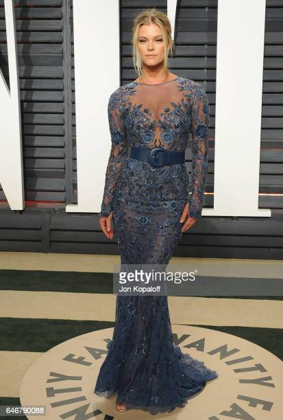 Model Nina Agdal arrives at the 2017 Vanity Fair Oscar Party Hosted By Graydon Carter at Wallis Annenberg Center for the Performing Arts on February...