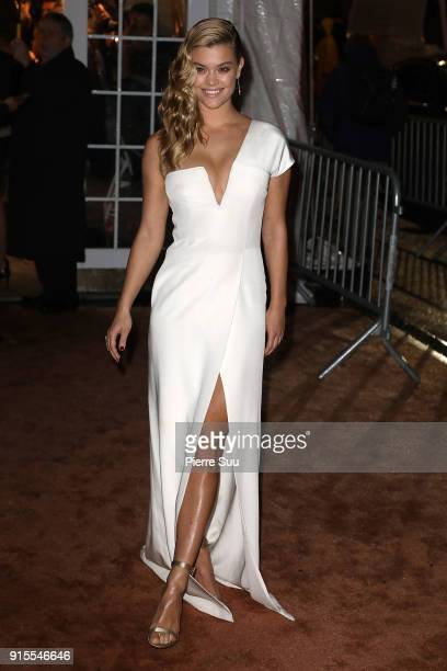 Model Nina Agdal arrives at the 2018 amfAR Gala New York at Cipriani Wall Street on February 7 2018 in New York City