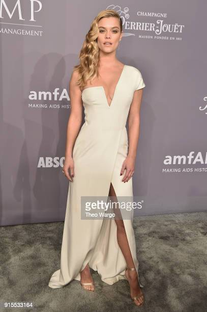 Model Nina Agdal attends the 2018 amfAR Gala New York at Cipriani Wall Street on February 7 2018 in New York City