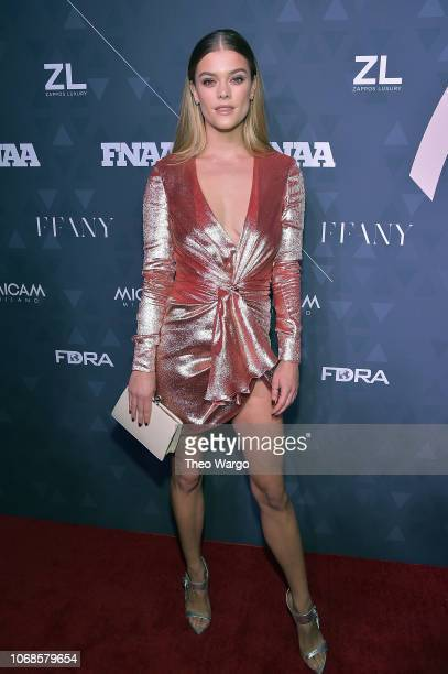 Model Nina Agdal attends the 2018 Footwear News Achievement Awards at IAC Headquarters on December 4 2018 in New York City