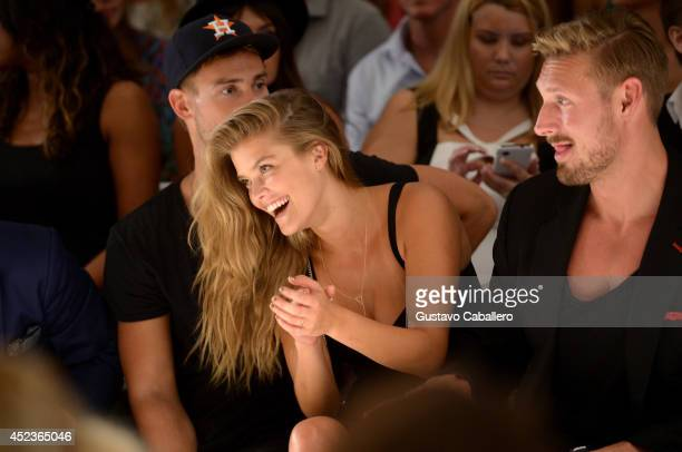 Model Nina Agdal attends the Beach Bunny Featuring The Blonds show during MercedesBenz Fashion Week Swim 2015 at Cabana Grande at The Raleigh on July...