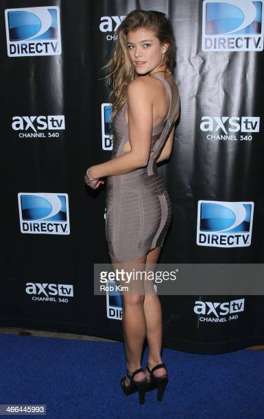 Model Nina Agdal attends the DirecTV Super Saturday Night at Pier 40 on February 1, 2014 in New York City.