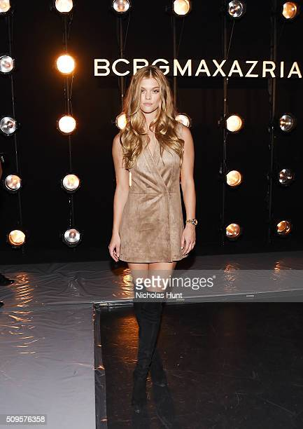Model Nina Agdal attends the front row at the BCBGMAXAZRIA Fall 2016 show during New York Fashion Week at The Arc Skylight at Moynihan Station on...