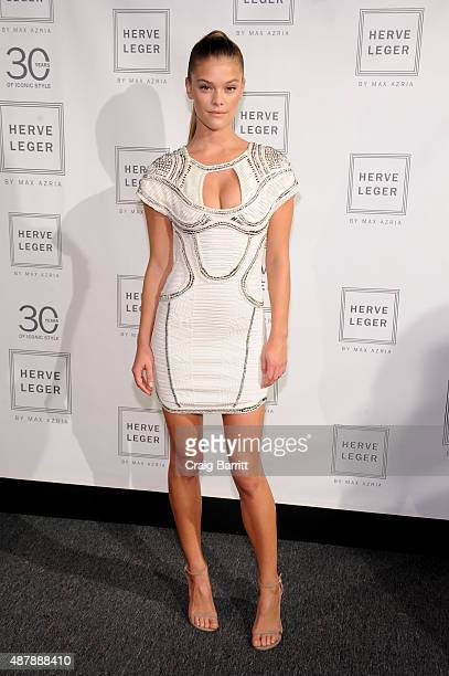Model Nina Agdal attends the Herve Leger by Max Azria Spring 2016 during  New York Fashion 7c442303b