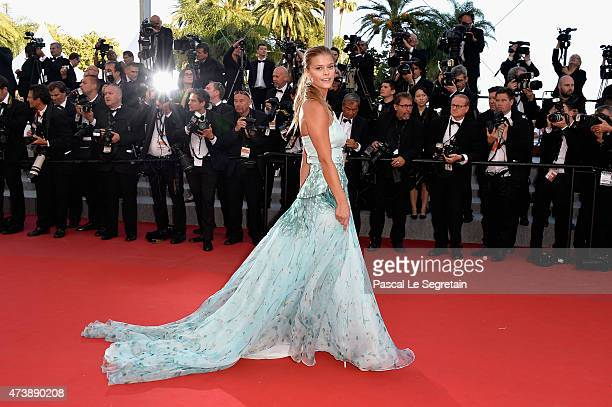Model Nina Agdal attends the Premiere of 'Inside Out' during the 68th annual Cannes Film Festival on May 18 2015 in Cannes France