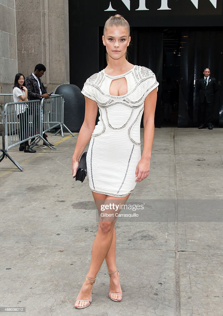 Model Nina Agdal is seen arriving at Herve Leger By Max Azria fashion show during Spring 2016 New York Fashion Week on September 12, 2015 in New York City.