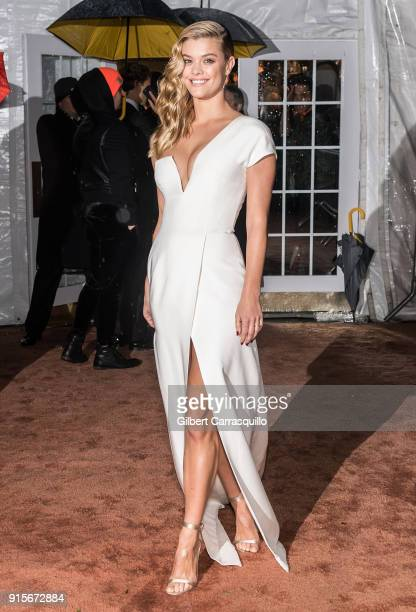 Model Nina Agdal is seen arriving to the 2018 amfAR Gala New York at Cipriani Wall Street on February 7 2018 in New York City