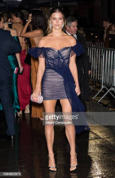 Model Nina Agdal is seen arriving to the amfAR New York Gala 2019 at Cipriani Wall Street on February 6 2019 in New York City