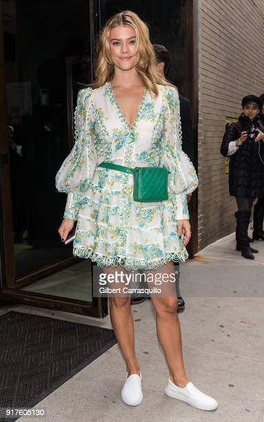 Model Nina Agdal is seen leaving the Zimmermann fashion show during New York Fashion Week at Spring Studios on February 12 2018 in New York City