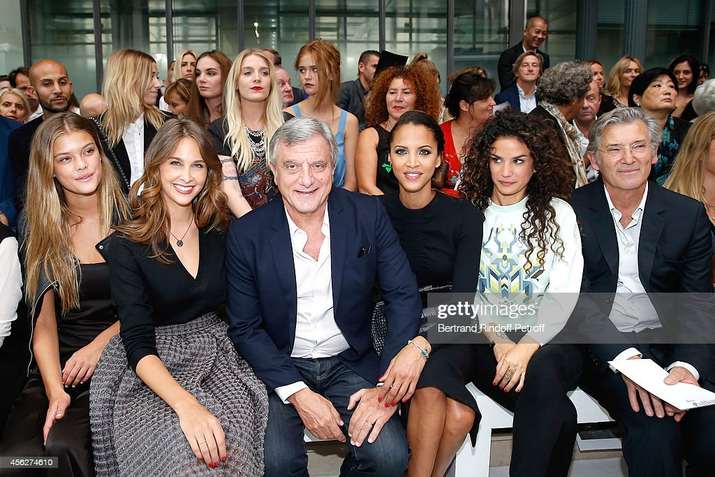 Model Nina Agdal, Ophelie Meunier, CEO Dior Sidney Toledano, actresses Noemie Lenoir, Barbara Cabrita and General Manager of John Galliano Dominique de Longevialle attend the John Galliano show as part of the Paris Fashion Week Womenswear Spring/Summer 2015 on September 28, 2014 in Paris, France.