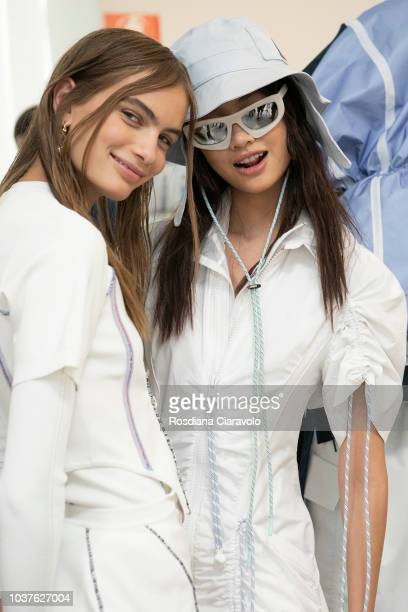 Model Nina Marker and Hoyeon Jung are seen backstage ahead of the Sportmax show during Milan Fashion Week Spring/Summer 2019 on September 21 2018 in...