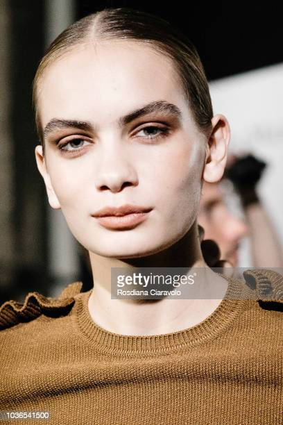 Model Nina Marker is seen backstage ahead of the Max Mara show during Milan Fashion Week Spring/Summer 2019 on September 20, 2018 in Milan, Italy.