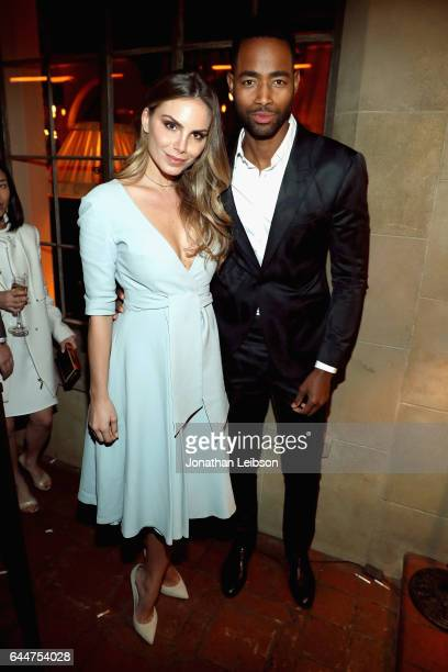 Model Nina Senicar and actor Jay Ellis attend the Cadillac Oscar Week Celebration at Chateau Marmont on February 23 2017 in Los Angeles California