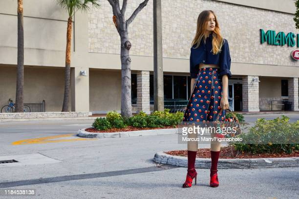 Model Noa Zijlmans is photographed for Madame Figaro on December 2 2017 in Miami Florida Top skirt socks and sandals bag PUBLISHED IMAGE CREDIT MUST...