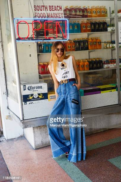 Model Noa Zijlmans is photographed for Madame Figaro on December 2 2017 in Miami Florida Top jeans belt and flipflops sunglasses PUBLISHED IMAGE...
