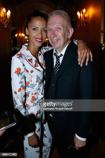 Model Noemie Lenoir and JeanPaul Gaultier attend the JeanPaul Gaultier 'Scandal' Fragrance Launch at Hotel de Behague on June 15 2017 in Paris France