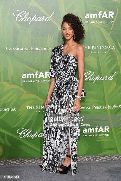 Model Noemie Lenoir attends the amfAR Paris Dinner 2018 at The Peninsula Hotel on July 4 2018 in Paris France