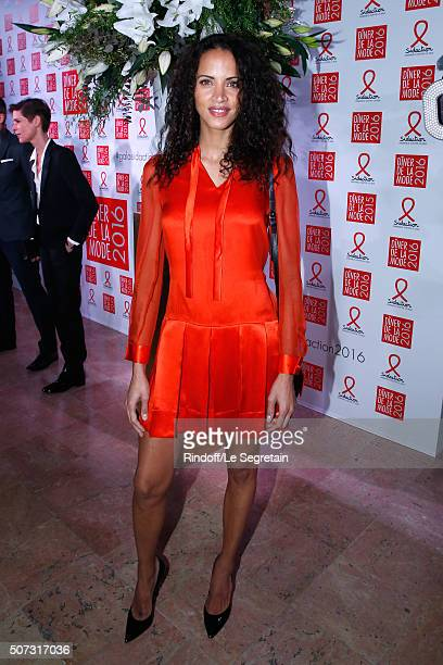 Model Noemie Lenoir attends the Sidaction Gala Dinner 2016 as part of Paris Fashion Week Held at Pavillon d'Armenonville on January 28 2016 in Paris...