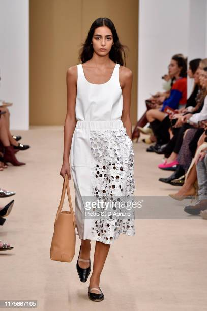 Model Nora Attal walks the runway at the Tod's show during the Milan Fashion Week Spring/Summer 2020 on September 20, 2019 in Milan, Italy.