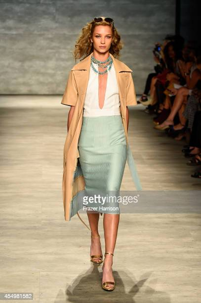 Model Oda Marie Nordengen walks the runway at the Georgine fashion show during MercedesBenz Fashion Week Spring 2015 at The Pavilion at Lincoln...