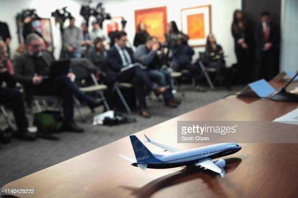 A model of a Boeing 737 Max 8 sits on the table as attorneys and family members of Samya Stumo who was killed in the crash of Ethiopian Airlines...