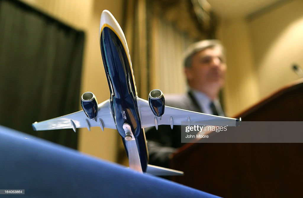 A model of a Boeing 737-800 aircraft sits on display as Boeing Commercial Airplanes President & CEO Ray Conner holds a joint press conference with Ryanair CEO Michael O'Leary where they signed a $15.6 billion purchase agreement on March 19, 2013 in New York City. Ryanair, Europe's largest low-cost air carrier, agreed to buy 175 new Next Generation 737-800 airplanes from Boeing. According to Ryanair, the deal will create more than 3,000 new jobs for pilots, cabin crew and engineers across Europe.