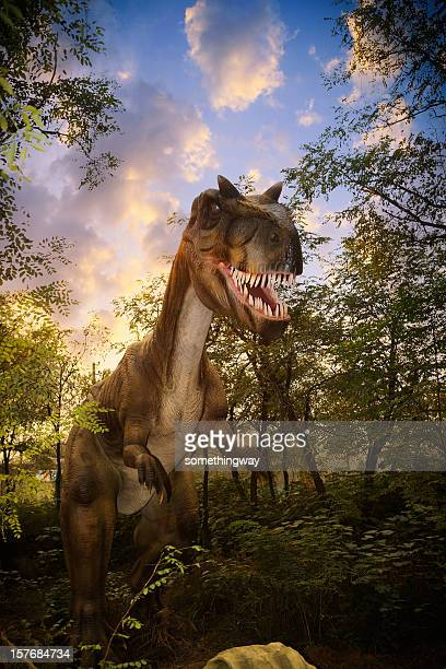 model of a dinosaur park - tyrannosaurus rex stock photos and pictures