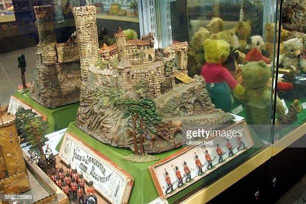 Model of a middle age castle with soldiers Toy and model museum Brighton East Sussex England UK on