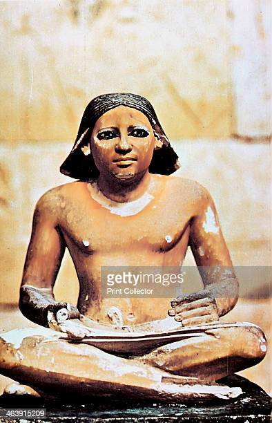 Model of a seated scribe Ancient Egyptian 5th Dynasty 24982345 BC From the Cairo Museum Egypt