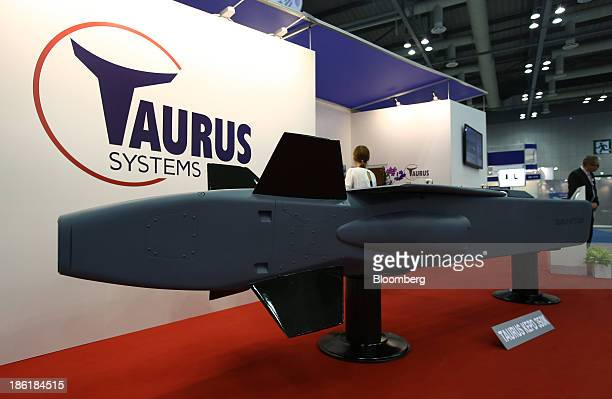 Model of a Taurus Systems GmbH Taurus KEPD 350K missile is displayed at the Seoul International Aerospace & Defense Exhibition 2013 in Goyang, South...