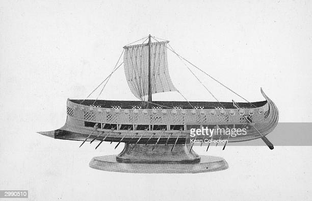 A model of a twolevel Phoenician Assyrian warship or Bireme circa 19th Century