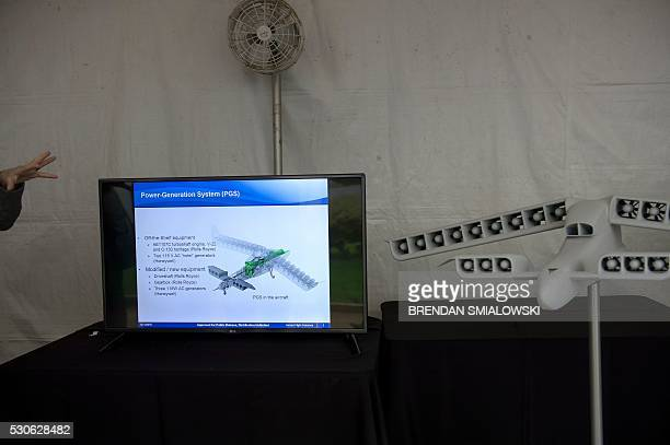 A model of a vertical takeoff aircraft is seen during the Defense Advanced Research Projects Agency Demo Day at The Pentagon on May 11 2016 in...