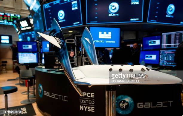 Model of a Virgin Galactic SpaceShipTwo is seen on floor during the company's first day of trading on the New York Stock Exchange on October 28, 2019...
