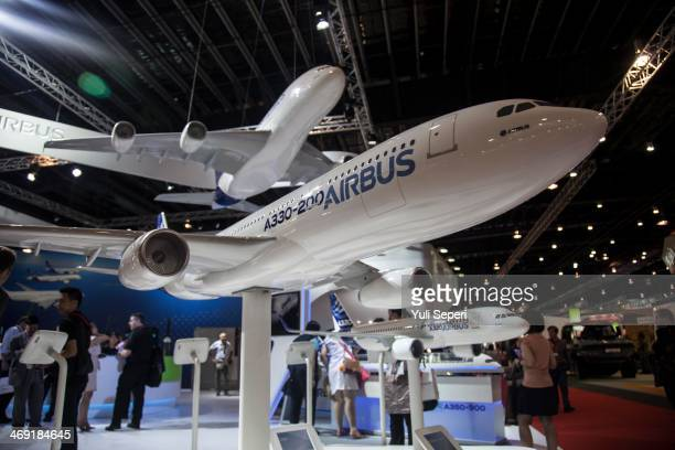 A model of Airbus A330200 aircraft is displayed at the Singapore Airshow on February 13 2014 in Singapore The Singapore air show is held every year...