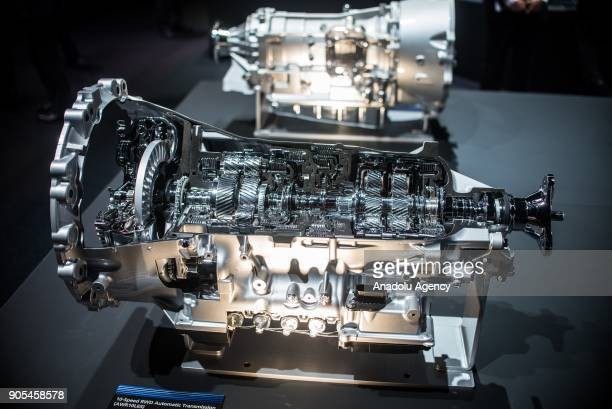 Model of an 10Speed FWD Automatic Transmission engine is on display during North American International Auto Show at Cobo Center in Detroit MI United...