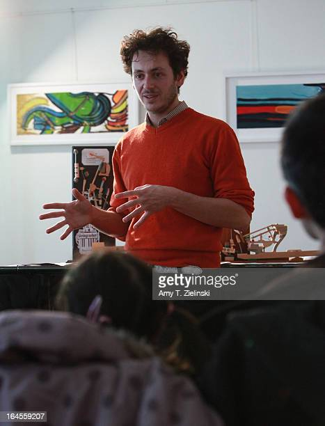 Model of an action is displayed as piano tuner and technician Antoine Dubay gives a workshop about the history of the piano and its mechanical parts...
