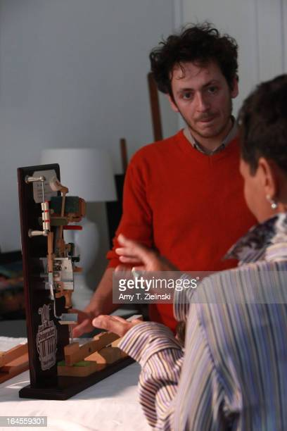 Model of an action is used in demonstration as piano tuner and technician Antoine Dubay gives a workshop about the history of the piano and its...