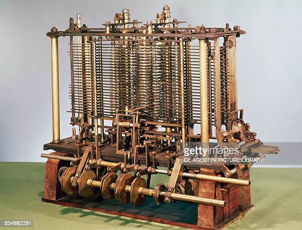 Model of an Analytical engine, calculating machine invented in 1837 by Charles Babbage . United Kingdom, 19th century. London, National Museum Of...