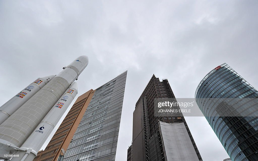 A model of an Ariane 5 rocket is pictured on June 2, 2010 at Potsdamer Platz in Berlin.