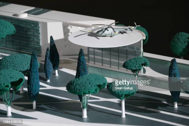 A model of an extension to the Chancellery by architects Axel Schultes and Charlotte Frank stands on display prior to a related press conference on...