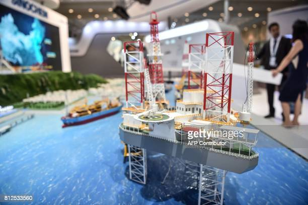 A model of an oilwell station is displayed at a stand on July 11 2017 during 22nd World Petroleum Congress in Istanbul Oil major bosses and energy...