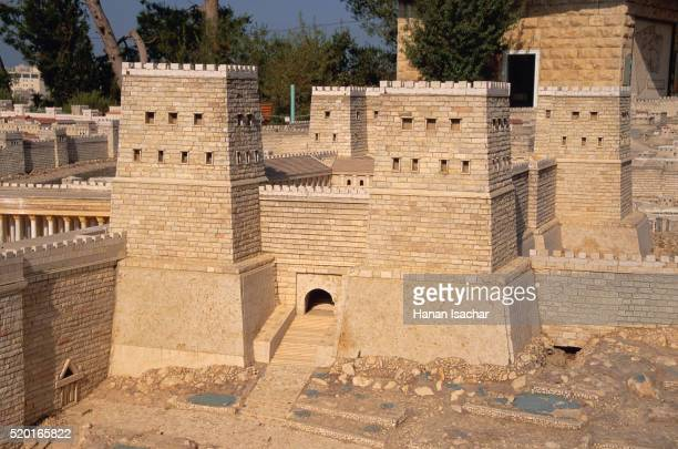 model of antonia fortress at the holyland hotel - antonia fortress stock pictures, royalty-free photos & images