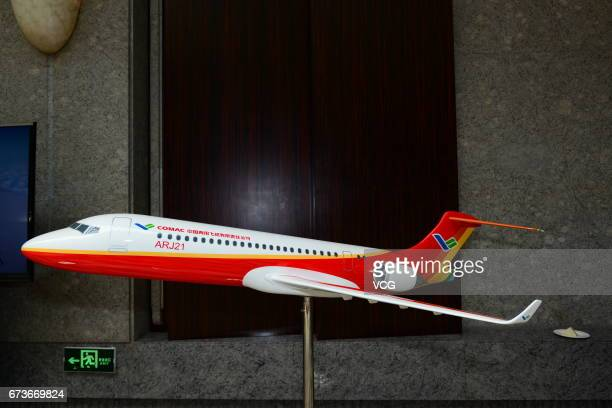 A model of ARJ21 aircraft is displayed at 1st CAACEASA Aviation Safety Conference on April 27 2017 in Shanghai China Civil Aviation Administratin of...