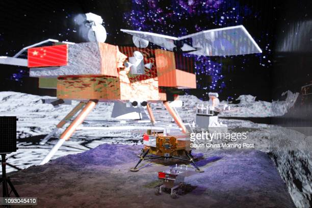 A model of Chang'e3 lunar lander is displayed at a special exhibition celebrating the achievements in the past five years since the 18th Party...