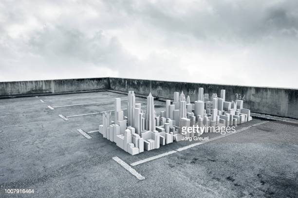 Model of city in parking lot