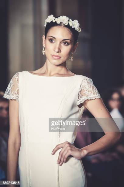 Model of Claudina Mata walks on the catwalk in Seville on May 26 2017
